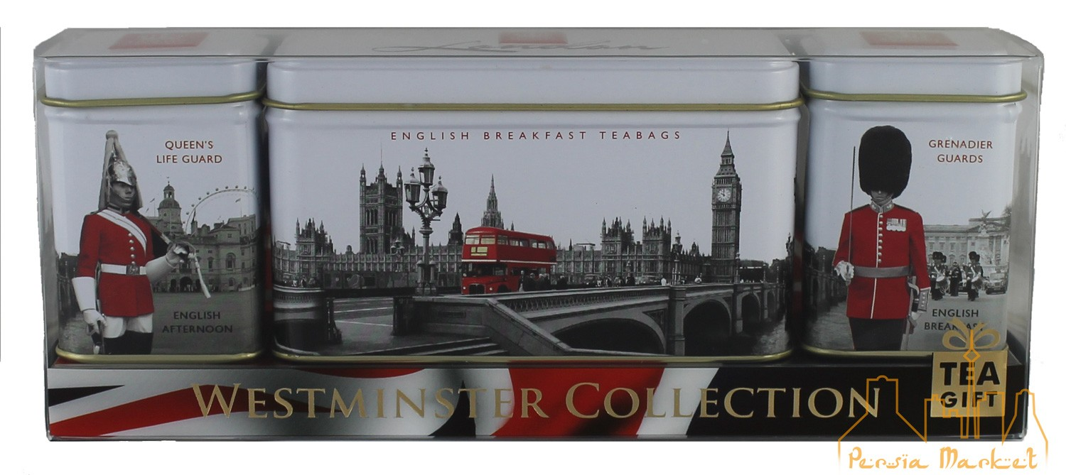 Ahmad Tea - Westminster Collection - 2x 25g Loose Tea Caddies & 14 Teabag Caddy